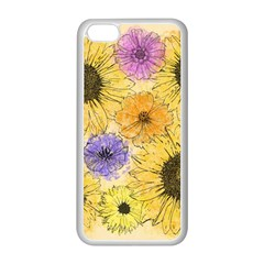 Multi Flower Line Drawing Apple iPhone 5C Seamless Case (White)