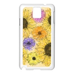 Multi Flower Line Drawing Samsung Galaxy Note 3 N9005 Case (White)