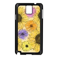 Multi Flower Line Drawing Samsung Galaxy Note 3 N9005 Case (Black)