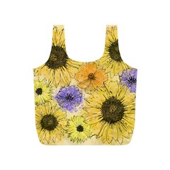 Multi Flower Line Drawing Full Print Recycle Bags (s)
