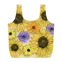 Multi Flower Line Drawing Full Print Recycle Bags (L)