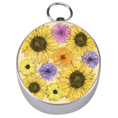 Multi Flower Line Drawing Silver Compasses