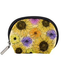 Multi Flower Line Drawing Accessory Pouches (Small)