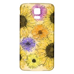 Multi Flower Line Drawing Samsung Galaxy S5 Back Case (White)