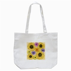 Multi Flower Line Drawing Tote Bag (White)