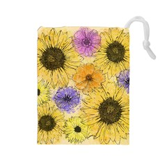 Multi Flower Line Drawing Drawstring Pouches (Large)
