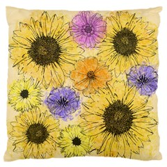 Multi Flower Line Drawing Large Flano Cushion Case (Two Sides)