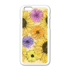 Multi Flower Line Drawing Apple Iphone 6/6s White Enamel Case