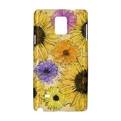 Multi Flower Line Drawing Samsung Galaxy Note 4 Hardshell Case