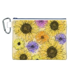 Multi Flower Line Drawing Canvas Cosmetic Bag (L)
