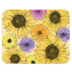 Multi Flower Line Drawing Double Sided Flano Blanket (medium)