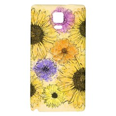 Multi Flower Line Drawing Galaxy Note 4 Back Case