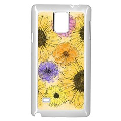 Multi Flower Line Drawing Samsung Galaxy Note 4 Case (White)