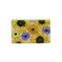Multi Flower Line Drawing Cosmetic Bag (xs)