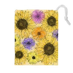 Multi Flower Line Drawing Drawstring Pouches (extra Large)