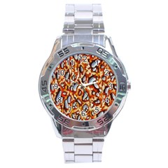 Pebble Painting Stainless Steel Analogue Watch