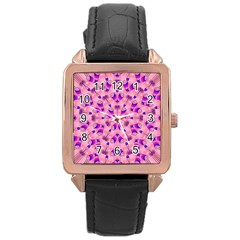 Mandala Tiling Rose Gold Leather Watch