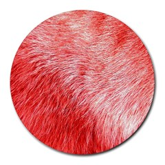 Pink Fur Background Round Mousepads