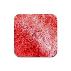 Pink Fur Background Rubber Square Coaster (4 Pack)