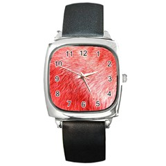 Pink Fur Background Square Metal Watch