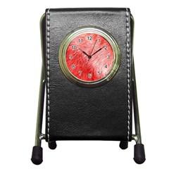 Pink Fur Background Pen Holder Desk Clocks