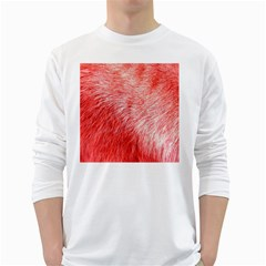 Pink Fur Background White Long Sleeve T-Shirts