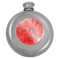Pink Fur Background Round Hip Flask (5 oz)