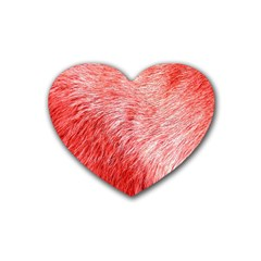 Pink Fur Background Heart Coaster (4 Pack)