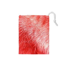 Pink Fur Background Drawstring Pouches (Small)