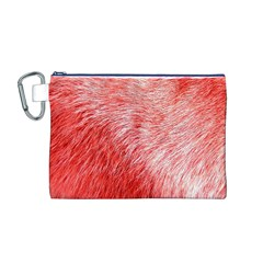 Pink Fur Background Canvas Cosmetic Bag (M)