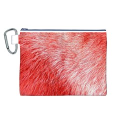 Pink Fur Background Canvas Cosmetic Bag (L)