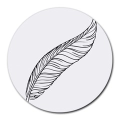 Feather Line Art Round Mousepads