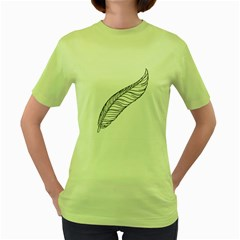 Feather Line Art Women s Green T Shirt