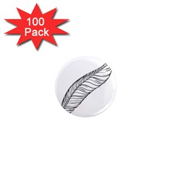 Feather Line Art 1  Mini Magnets (100 pack)