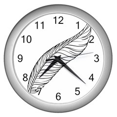 Feather Line Art Wall Clocks (silver)
