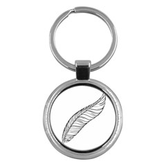 Feather Line Art Key Chains (Round)