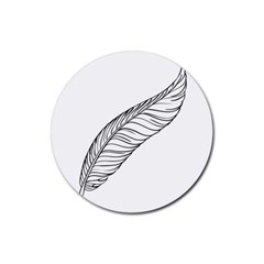 Feather Line Art Rubber Round Coaster (4 pack)