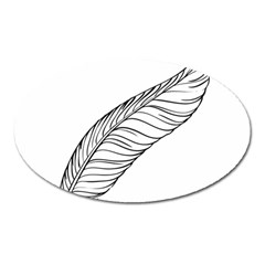 Feather Line Art Oval Magnet