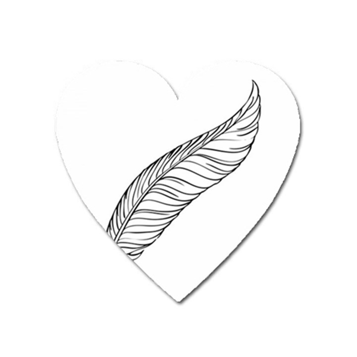 Feather Line Art Heart Magnet