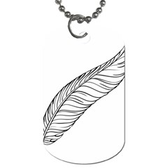 Feather Line Art Dog Tag (One Side)