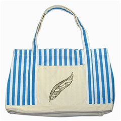Feather Line Art Striped Blue Tote Bag