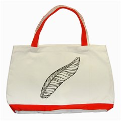 Feather Line Art Classic Tote Bag (Red)