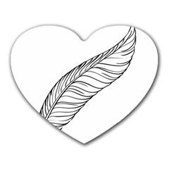 Feather Line Art Heart Mousepads