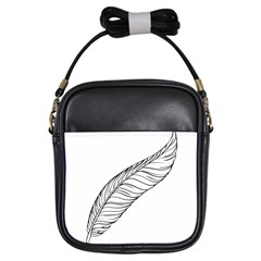 Feather Line Art Girls Sling Bags