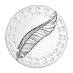 Feather Line Art Round Filigree Ornament (Two Sides)