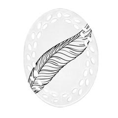 Feather Line Art Ornament (Oval Filigree)