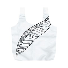 Feather Line Art Full Print Recycle Bags (M)