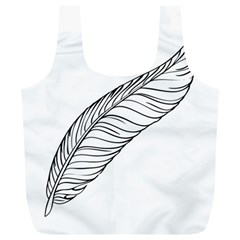 Feather Line Art Full Print Recycle Bags (L)