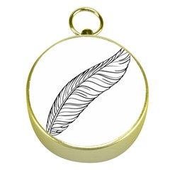Feather Line Art Gold Compasses