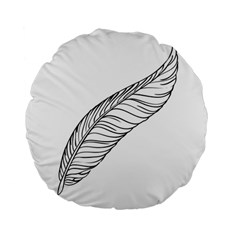 Feather Line Art Standard 15  Premium Flano Round Cushions